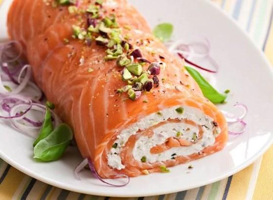 rotolo di salmone al pistacchio